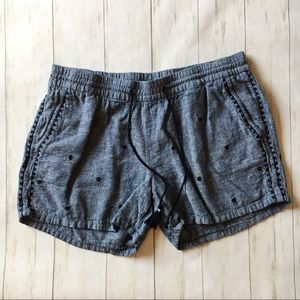 Old Navy Blue Chambray Embroidered Pull On Shorts